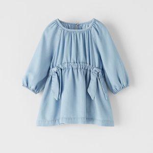 NWT 12-18 month Zara blue denim dress